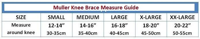 Mueller Knee Braces Size Guide