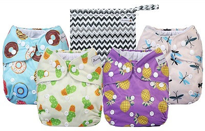 """""""Anmababy"""" Cloth Diapers 4 Pack Adjustable Size"""