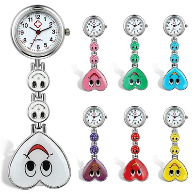 Lancardo Candy Color Smile Heart Face Nurse Clip Watch Medical Lapel Pocket Clasp Watch