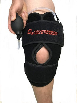 O2 Cold Therapy Knee Wrap with Ice Pack and Air Compression Wrap