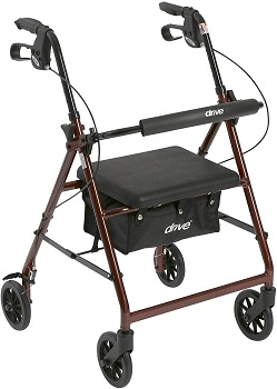 Drive Medical Aluminum Rollator Walker Fold Up and Removable Back Support