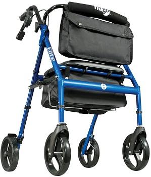 Hugo Elite Rollator Walker with Seat, Backrest and Saddle Bag