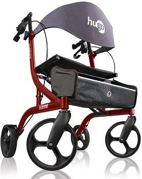 Hugo Mobility Explore Side-Fold Rollator Walker with Seat, Backrest and Folding Basket