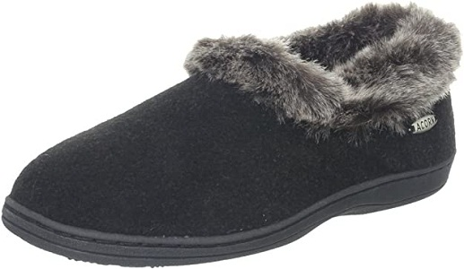 Acorn Women's Chinchilla Collar Slippers With Arch Support
