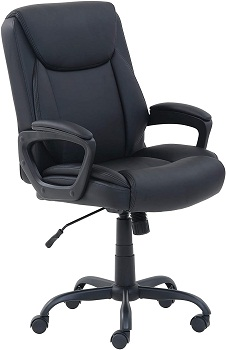 Amazon Basics PU-Padded Mid-Back Office Computer Desk Chair with Armrest