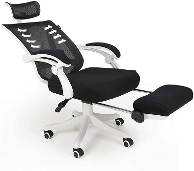 Hbada Adjustable High Back Ergonomic Computer Mesh Recliner with Footrest and Lumbar Support