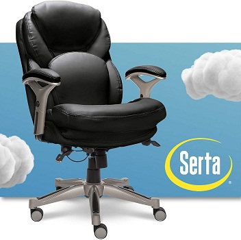 Serta Ergonomic Executive Office Motion Technology, Adjustable Mid Back Desk Chair with Lumbar Support