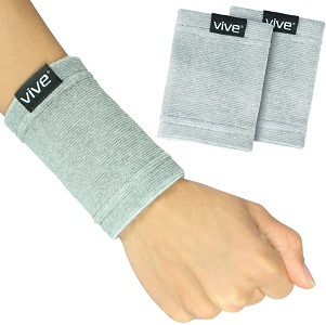 Vive Wrist Sweatbands (Pair) - Bamboo Charcoal Compression Wristband