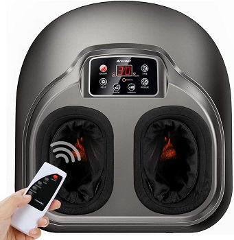 Arealer Foot Massager Machine with Heat, Shiatsu Foot Massagers with Remote Control & LCD Display