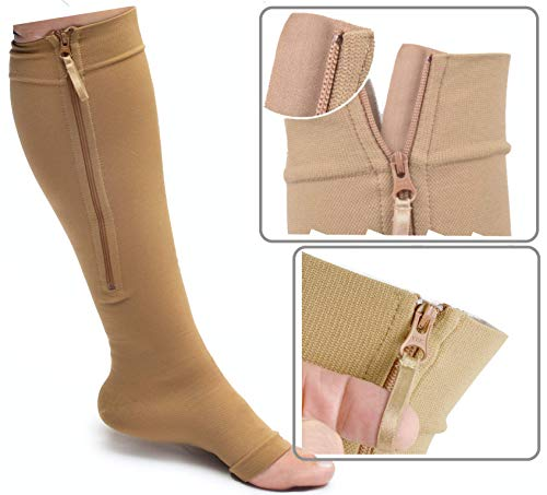 Varicose Vein Edema Runee 15-20 mmHg Medical Open Toe Compression Sock Knee High Hosiery Stocking For Swelling