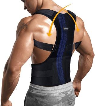 Posture Corrector for Upper Back Pain Relief Lumbar Support Adjustable Shoulder Brace by Junlan