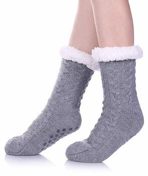 SDBING Women's Winter Super Soft Grippers Slipper Socks