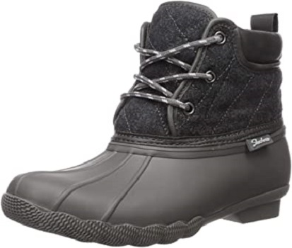 Skechers Women's Pond-Lil Puddles-Mid Quilted Lace Up Duck Boot