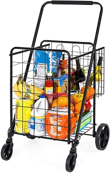 Best Choice Products 24.5 × 21.5 Inches Folding Steel Storage Utility Cart For Shopping