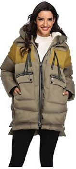 Emperor Goose Women's Down Jacket Hooded Color block Puffer Parka