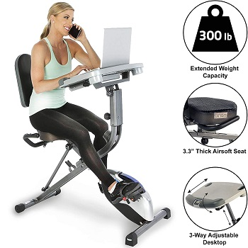 Exerpeutic ExerWorK 1000 Fully Adjustable Desk Folding Exercise Bike