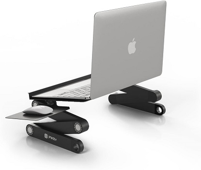 Laptop Table Stand Adjustable Riser: Portable with Mouse Pad Fully Ergonomic