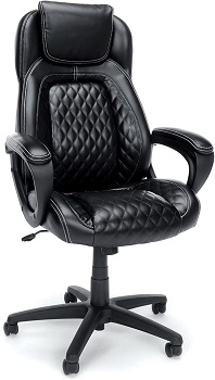 OFM ESS Collection Racing Style SofThread Leather High Back Office Chair
