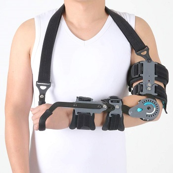 Orthomen Adjustable Post OP Elbow Brace with Hand Grip for Adult and Child