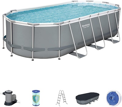 "Power Steel 18' X 9' x 48"" Platinum Series Permanent Above Ground Pool"