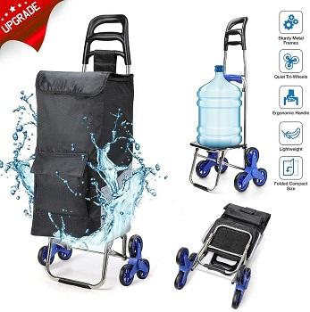 ROYI 2020 Upgrade Folding Shopping Cart Stair Climbing Cart With Quiet Rubber Tri Wheels