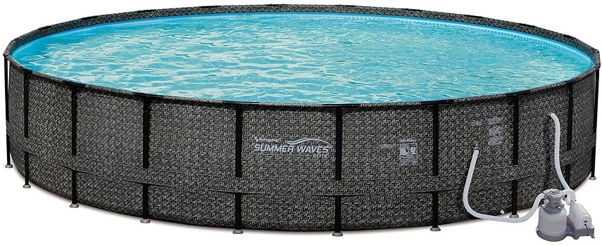 Summer Waves 24ft x 52in Elite Wicker Round Permanent Above Ground Frame Outdoor Swimming Pool Set