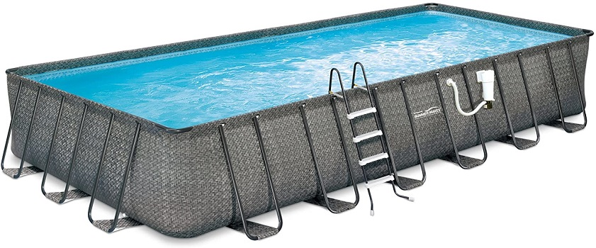 Summer Waves Elite Rectangular Metal Frame Package Permanent Above Ground Pool