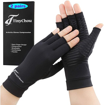 Tiny Chou 2 Pairs Copper Compression Arthritis Gloves