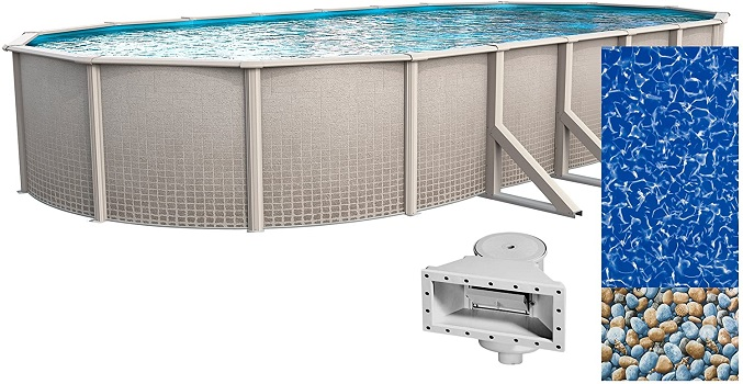 Wilbar Impressions 15-Foot-by-30-Foot Oval Permanent Above Ground Pool