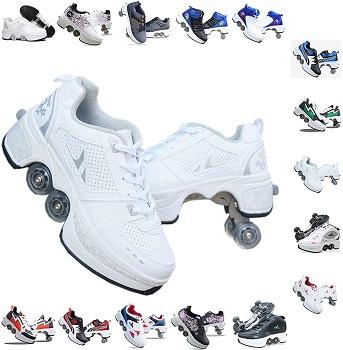 PLMOKN Roller Skates for Women 4 Wheel Adjustable Quad Roller Skates Boots