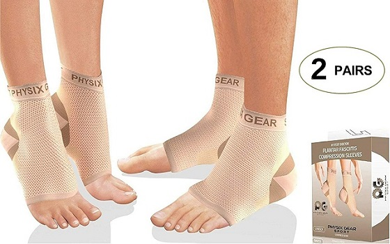 Physix Gear Compression Plantar Fasciitis Socks with Arch Support