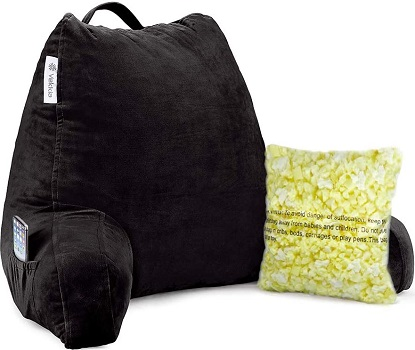 Vekkia Reading & Bed Rest Pillow with Support Arms, Pockets, Memory Foam